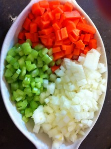 The classic mirepoix. Equal parts carrot, onion, and celery.