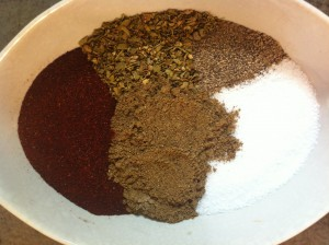 Clockwise from top: Mexican Oregano, Black Pepper, Salt, ground Cumin, Chili Powder