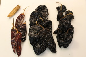 Chiles, left to right: Chipotle, Pasilla, Ancho, Mulatto