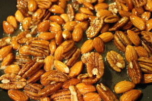 Frying the pecans and almonds.  You just want to do this until they begin to take on some extra color.