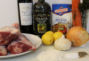 The ingredients for the Ossobuco.