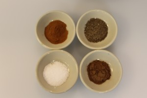 The spices clockwise from right: