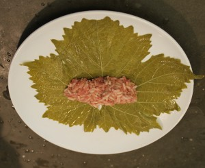 3.  Take some of the stuffing (this was a large leaf, so I used about 2 tablespoons stuffing), press it together loosely into a sort of log shape.  Please it on the bottom 1/3rd of the leaf.