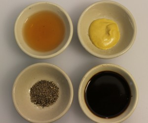 Clockwise from top: Dijon Mustard; Worchestershire Sauce; Black Pepper, Red Wine Vinegar