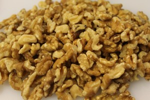 Walnuts. Not my favorite nut, but they work well here.