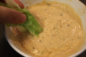 Testing the Thousand Island Dressing.