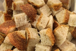 The cubed bread. I used an Italian rustic whole-wheat bread.