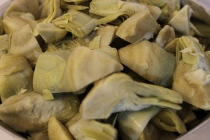 The artichokes.  I used frozen ones in this recipe. If you do get jarred or canned, bue sure they aren't marinated ones.