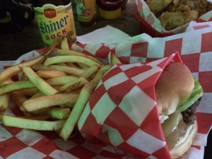 My Lunch: Mushroom Burger with Fries and Shiner.
