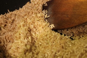 Sauteing the rice.  I used brown in this post.