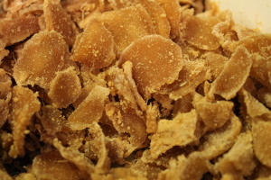 The dried ginger. It's hard to see, but the sugar has crystallized.