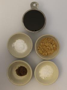 From top: molasses, baking soda, ginger, allspice, salt