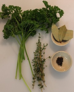 The seasonings: Parsley, dried bay leaves, fresh thyme, black peppercorns