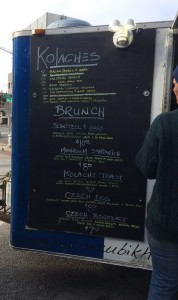 The menu at The Zubik House food truck. Amazing artisinal kolaches.