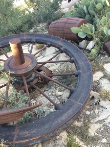I don't know if the rusted machinery or impliments were simply left after the mine closed or have been artfully placed by the locals, but they are interesting artifacts to Terlingua's past.