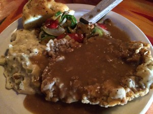 My Dinner: Chicken Fried Wild Boar with beer-based gravy.