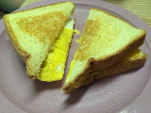Nephew's breakfast: the humble Breakfast Sandwich.