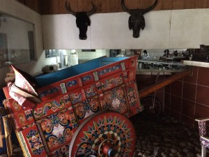 I noticed this beaur=tifully painted oxcart and thought it was unique to the restaurant. Turns out, painted oxcarts (carretas) are a traditional art form in Costa Rica with each region having its own design.