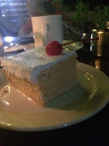 I decided against dessert; Steve had tres Leches Cake and coffee.